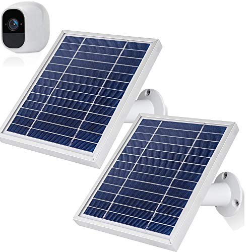 iTODOS 2 Pack Solar Panels Work for Arlo Pro 2 Camera , 11.8Feet Power Cord and Adjustable Mount(Silver)