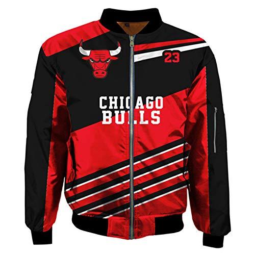 WQWY Chicago Bulls Bomber Jacke - Schwarz Rot Varsity Jacke für Männer Verdickte Reißverschluss Flug Jackeks Lässige Modeartmäntel mit voller Reißverschluss XL