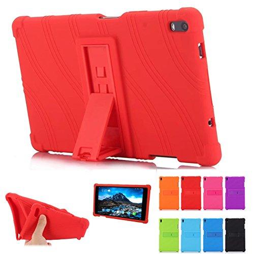 Funda para Lenovo TAB 4 8 Plus – HminSen Ultra Slim Suave Silicona Trasera Soporte para Lenovo TAB 4 8 Plus TB-8704F TB-8704N, Rojo rosso