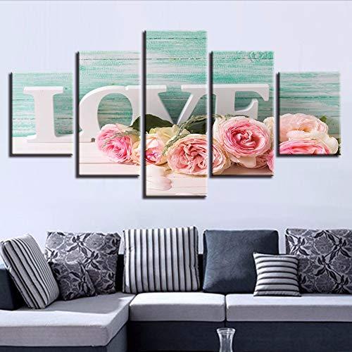 Cczxfccm wanddecoratie, motief: Living-Room Hd, bedrukt met 5 stuks rozen en letters Love Painting Frame Afbeeldingen Modular Canvas Modern Art 20x35/45/55cm-contiene Telaio