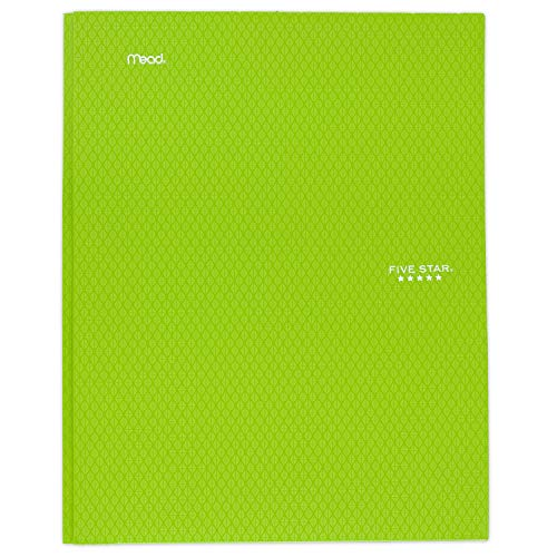 """Five Star 2-Pocket Folder, Stay-Put Folder, Plastic Colored Folders with Pockets & Prong Fasteners for 3-Ring Binders, Great for Home School Supplies & Home Office, 11"""" x 8-1/2"""", Lime (72901)"""