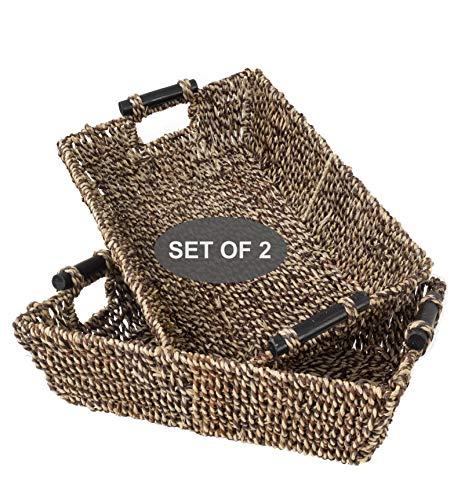 Made Terra Cestas de mimbre Seagrass para baño, cocina y decoración del hogar | Cestas tejidas de alambre de paja con asas para mesa, top de tanque de inodoro, juego de 2 (marrón grande)