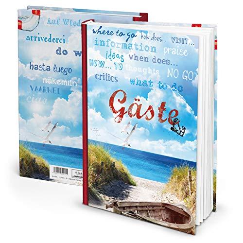 Maritimes rot blau Gästebuch GÄSTE für Ferienwohnung Pension Hotel in DIN A4 HARDCOVER 164 Seiten auch für internationale Gäste Buch Ostsee Nordsee Sylt Norderney, …