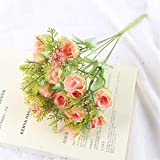 Qiaoqi Artificial Flores Falsas Rosa de yema de granadaFlores, Ramos de Boda para decoración de Bodas, hogar, jardín,Fiesta