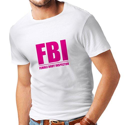 Camisetas Hombre Inspector del Cuerpo Femenino - Regalos Divertidos para los Hombres, Citas chistosas (XX-Large Blanco Magenta)