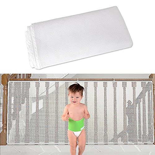 WOTEG Children Safety Balcony Net Staircase Anti-Falling Blocking Net Sturdy Fabric Mesh Material Protection for Kids Cats Puppy Pets Safety Net for Balcony Railing Stairs Patios, 35 x 78/118 in