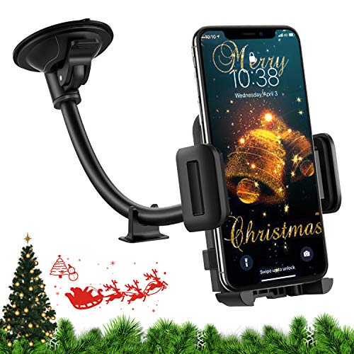 Mpow Car Phone Mount, Windshield Car Phone Holder, Long Arm Washable Suction Cup, One Button Release Clamp, Cell Phone Holder Compatible iPhone 11 Pro XS Max/XS/XR/X/8/7/6Plus Etc