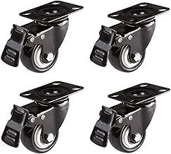 """1.5 """"Set van 4 zwenkwielen zwenkplaat met rem op wielen meubels Silent Caster Geschikt voor Flower S, Home, Mobile, lichte..."""