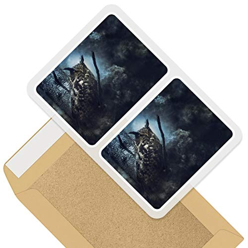 Rectangle Stickers (Set of 2) 10cm - Fantasy Wise Owl Bird Dream Decals for Laptops,Tablets,Luggage,Scrap Booking,Fridges, 45005