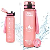 CASAON 32oz Water Bottle with Straw, 1 Liter Water Bottle BPA Free with Time Marker