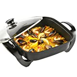 VonShef Square Multi Cooker - Electric Frying Pan with Glass Lid, Non-Stick Surface