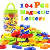 LovesTown 104 Pcs Magnetic Letters Numbers, Plastic ABC Alphabet Letters Educational Toy Set Fridge Magnets for Preschool Learning Spelling Counting