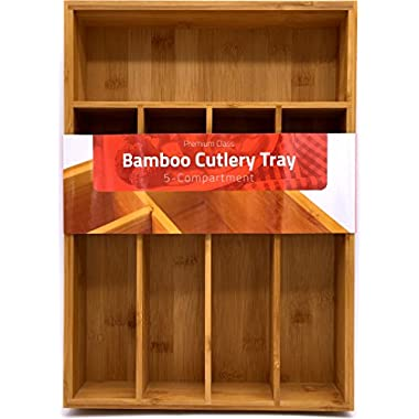 Bamboo Kitchen Tray Organizer - Bamboo Drawer Organizer - Silverware Tray - Bamboo Hardware Organizer - 5 Compartments - by Utopia Kitchen