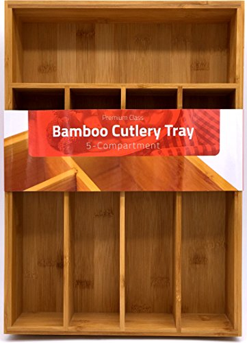 Utopia Kitchen 5 Compartments Bamboo Silverware Organizer-Bamboo Drawer Organizer Tray-Bamboo Hardware Organizer-Flatware Drawer Organizer Tray-Perfect for the Kitchen-Hardware-Cosmetics Divider