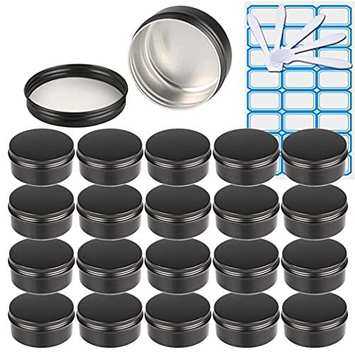 ZEOABSY100 Piezas Tarros de Aluminio con Tapa Rosca 150ml, Negro Mate Tarros de Aluminio Vacíos Redondo para Contenedor De Cosméticos CremasCaja de almacenaje con10 Espátula y 4Etiqueta