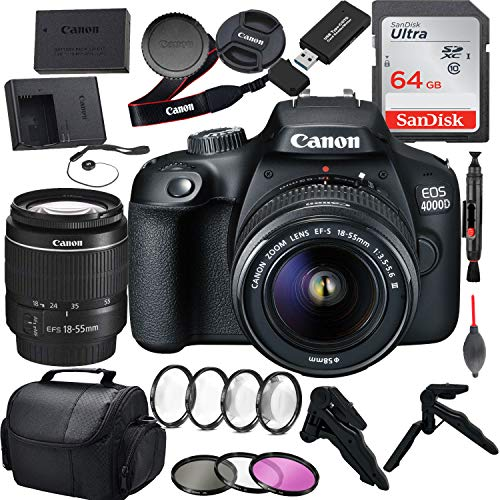 Canon EOS 4000D DSLR Camera with Canon EF-S 18-55mm F/3.5-5.6 III Zoom Lens Bundle with 64GB Sandisk SD Card, Extra Battery Pack Plus Accessory Kit (14 pc Bundle)