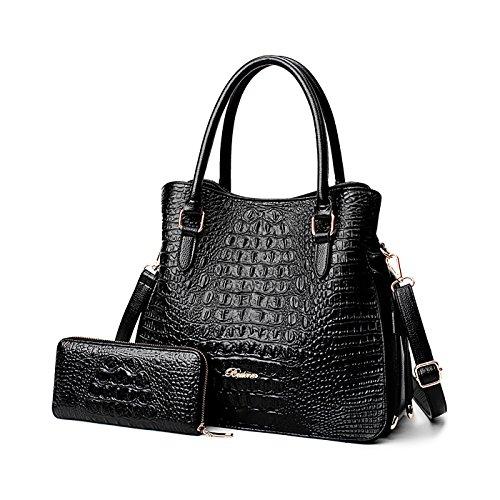 Tisdaini® Damenhandtaschen Mode Krokodilmuster Schultertaschen Set 2 Stuck Shopper Umhängetaschen Brieftasche Schwarz