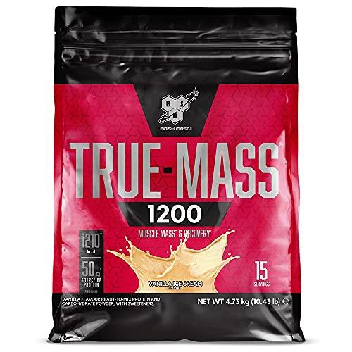 BSN True Mass 1200, Proteínas de la Leche y Carbohidratos para Aumentar Masa Muscular, Helado de Vainilla, 15 Porciones, 4.73 kg
