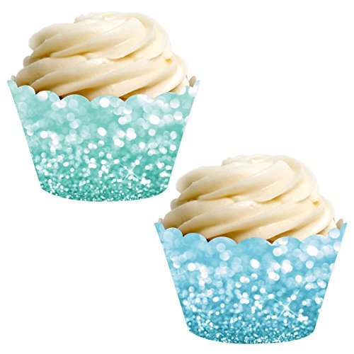 Andaz Press Party Cupcake Wrapper Decorations, Faux Baby Blue and Aqua Glitter, 24-Pack, Theme Colored Bulk Cake Supplies