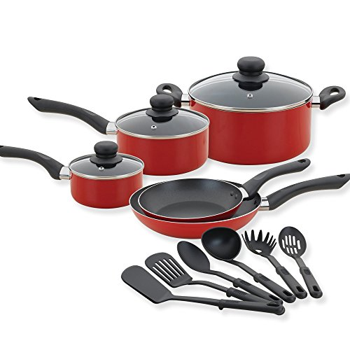 Betty Crocker 14 Piece Cookware Set - Nonstick Pots and Pans Set with Kitchen Cooking Utensils, Red