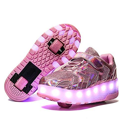 MNVOA Unisex Kinder Mode LED USB Schuhe mit Rollen Drucktaste Einstellbare Skateboardschuhe Outdoor Gymnastik Turnschuhe Für Junge Mädchen Jungs,Pink 2 Wheels,32 EU