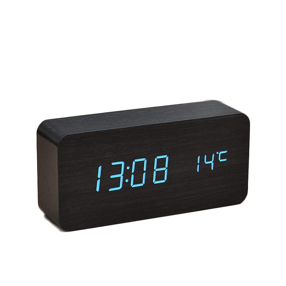 ショッキングノート特定の木製の学生湿度計枕元の目覚まし時計ミュートLED電子時計,黒の木にブルー