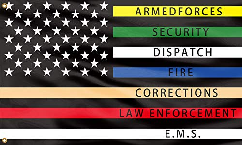 QOR Balance First Responders Flag Police Fire Thin Multi Line Red Blue Green Support Banner Flag Vivid Color and Fade Proof with Brass Grommets Polyester Yard Lawn Outdoor Decor 3x5 Ft