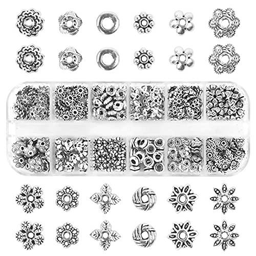 360 Pezzi Perline Distanziali Lega Orecchini Fai Da Te Con Ciondolo Perla Metallo Perline Distanziali Argento Antico Argento Antico Connettore Tappi Per Perline Per La Creazione Di Gioielli
