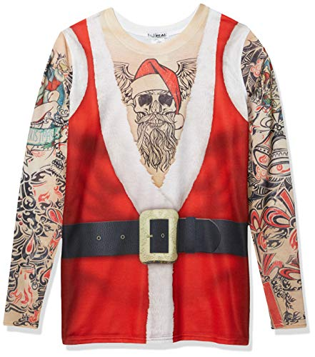 Faux Real Men's 3D Photo-Realistic Ugly Christmas Sweater Long Sleeve T-Shirt, Santa Tank Tattoo, Large
