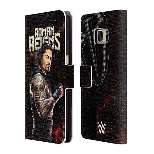 Head Case Designs Offizielle WWE Roman Reigns Superstars Leder Brieftaschen Huelle kompatibel mit Samsung Galaxy S7