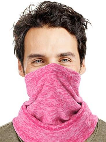 Men s Fleece Neck Warmer Cold Weather Ultimate Ski Balaclava Half Mask Hoods Pink product image