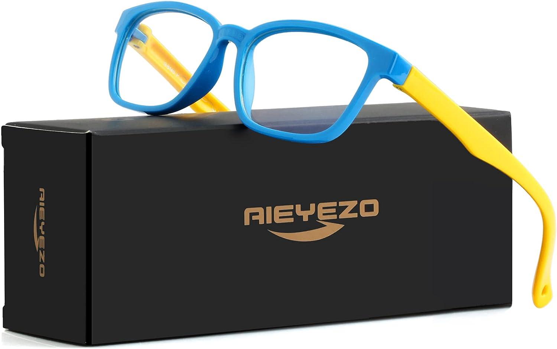 Kids Blue Light Blocking Glasses Silicone Flexible Square Eyeglasses Frame with Glasses Rope, for Children Age 3-10