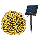 KPafory Solar String Lights,1 Pack 72ft 200LED 8 Modes Solar Powered Christmas Lights Outdoor String Lights Waterproof Fairy Lights for Garden Wedding Party Christmas Decorations,Warm White