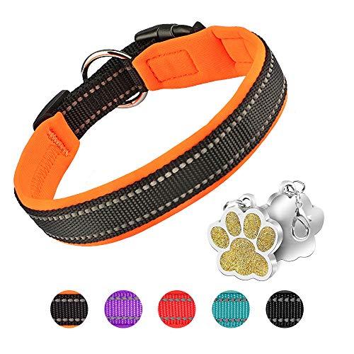 Hundehalsband Verstellbare Weich Gepolstertes Neopren Nylon Hunde Halsband Reflektierend Halsband Atmungsaktives Einstellbar mit Erkennungsmarke for kleine mittel große Hunde - Orange-S