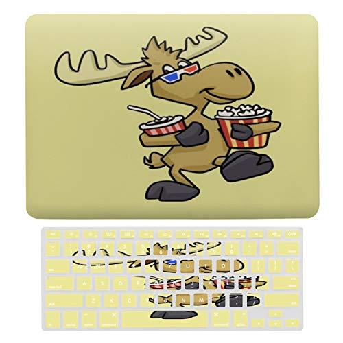Funda protectora para portátil con diseño de alce divertido en gafas 3D y funda para teclado compatible con MacBook Air 13 (modelos A1369 y A1466)