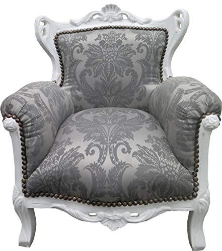 Casa Padrino Barock Kinder Sessel Grau Barock Muster/Weiss - Barock Möbel - Limited Edition