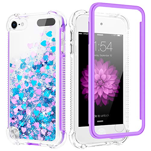 Caka Glitter Case for iPod Touch 5 6 7 Case Full Body Bling Liquid Sparkle for Women Girls Flowing Shining Glitter Quicksand Clear Shockproof Phone Case for iPod Touch 5 6 7 Generation (Blue Purple)