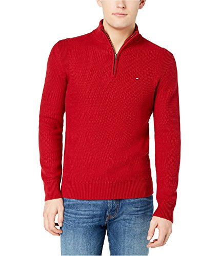 Tommy Hilfiger Mens Quarter-Zip Pullover Sweater Red S