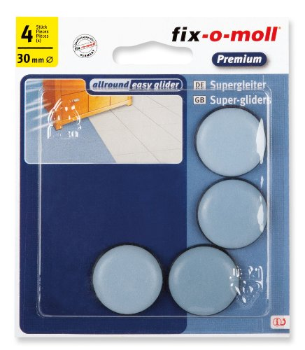 fix-o-moll - Set di pattini slittanti per spostare mobili, adesivi, 30 mm, 4 pz.