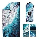 4Monster Telo da mare in microfibra ultra leggero, resistente alla sabbia, ad asciugatura rapida, assorbente, per spiaggia, piscina, sport acquatici, yoga, fitness