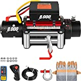 VEVOR Electric Winch 8000lb Load Capacity Truck Winch Compatible with Jeep Truck SUV 94ft/28.6m Cable Steel 12V Power Winch with Wireless Remote Control, Powerful Motor for ATV UTV Off Road Trailer