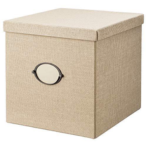 IKEA KVARNVIK caja de almacenaje con tapa 32x32 cm beige