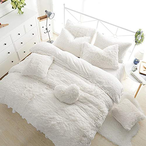 [hachette] Teddy Bear Fleece Duvet Cover Set Super Soft Warm and Cosy Bedding Set Including Pillowcases (White, King)