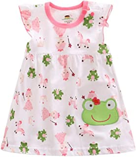 Feidoog Baby Girls Summer Cartoon Printed Casual Sleeveless Toddler Tutu Dress Overall Outfits One-Piece