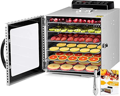 Déshydrateur Alimentaire avec 6 Plateaux Inox, Desydratateur avec Minuteur (24H)+Température réglable (30 à 90°C)+Recettes(anglais), Fruits, Légumes, séchoir à viande, sans BPA, 400W