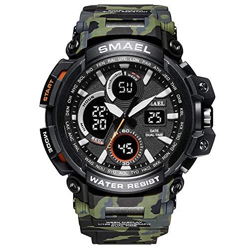 QZPM Mode Camouflage Uhren, Herren-Digital-Dual Time Sport Multifunktions-Wasserdicht Mit Alarm Und Kalender-Datum Armbanduhr,Army Green