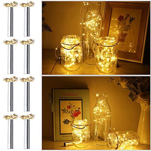 Anpro 8 x 20 LED Flaschenlicht Lichterkette 2M, warmweiß LED Flaschen Licht LED Nacht Licht Weinflasche für Hochzeit Party romantische Deko, Tischdekoration, Weihnachten, MEHRWEG