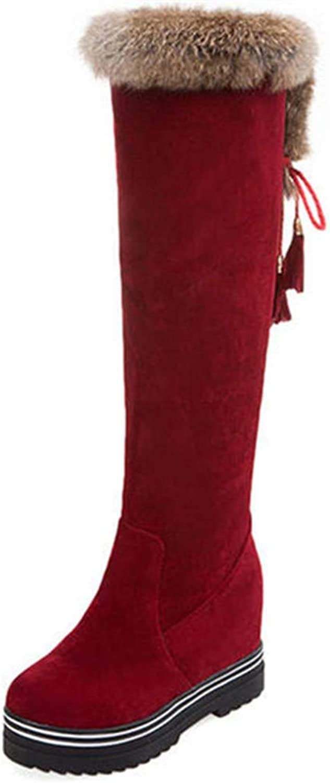 Hoxekle kvinnor Knee höga stövlar Faux Fur Slip on Lace Up mode Wedge hög klack Round Toe Winter Heam Snow Long stövlar