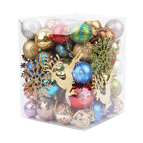 "N/J 60ct Christmas Ball Ornaments Shatterproof Christmas Decorations Tree Balls for Christmas Tree Decoration, Holiday, Wedding, Shop Display Decoration, 1.18~3.15"" Size&Color Varied Xmas Balls"