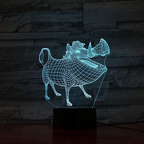Lampe de table chambre Pumbaa décor lampe 3D Illusion tactile capteur enfant enfant cadeau décoration dessin animé le roi lion veilleuse LED